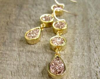 Triple Drop Rose Gold Druzy Earrings, Rose Gold Drusy Earrings, Druzy Quartz Jewelry, Rose Gold Earrings, Long Linear Statement Earrings