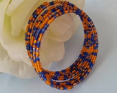 Orange and Blue College Football Memory Wire Wrap Bangle Bracelet