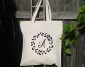 Wedding Tote,Wreath Wedding Welcome Tote -Bridesmaid Bag - Flower Girl  - Monogram Initials -A to Z