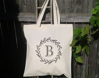 Wedding Tote, Wreath Wedding Welcome Tote -Bridesmaid Bag - Flower Girl  - Monogram Initials -A to Z