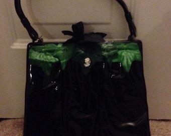 Vintage black patent victorian gothic ivy cameo purse handbag