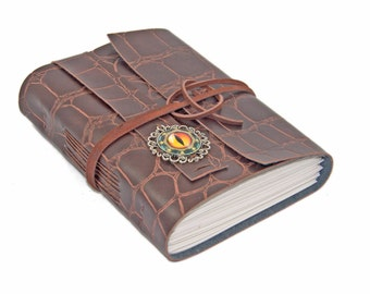 Faux Leather Journal / Eye Cameo / Faux Alligator / Bookmark / BoundByHand / Blank Paper / Ready to Ship