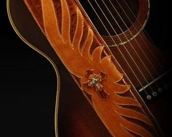 Cognac Guitar Strap, Leather Guitar Strap:  Cognac Avenger Guitar Strap