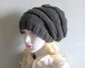 Sacking Winter Hat  Slouchy Beanie Hat Oversized Hat Chunky Knit Mens Slouchy  slouchy knit hats grey hat black Slouchy Hat Women knit Hat