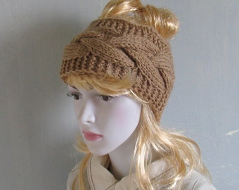 Cabled Headbands Earwarmers Cream Fall Winter Accessories Headcovers Womens Girls Headwraps