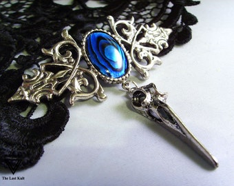 Bird skull brooch pin silver blue abalone gothic jewelry