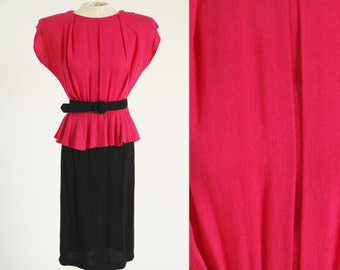 Vintage 1980s Colorblock Peplum Dress with Belt