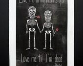 Valentines Girlfriend Boyfriend Gift Sugar Skull Skeleton Love linocut print poster