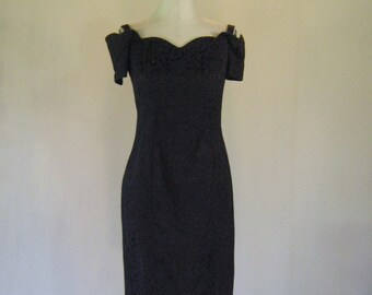 Black Scalloped Floral Brocade Wiggle Dress