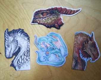 Dragon Stickers - Set of 4 - Fantasy Art Illustration Affordable Cute Monster Drawings Pack