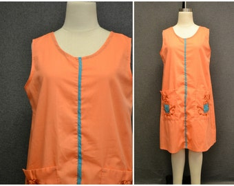 1970s Coral Watering Can Smock/Shift Dress