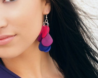 Bisexual pride earrings - tagua earrings