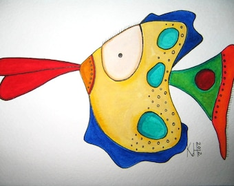 Fish Watercolor J6, Original Watercolor Painting, by Fig Jam Studio