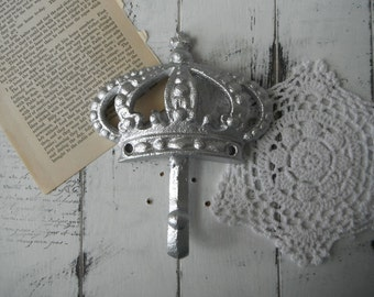 crown hook silver wall hook cottage chic nursery decor clothing hook cast iron silver hook cottage chic paris apartment rustic hook