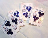 Fab Retro Vintage Original, Unused MENS' Indigo/Cobalt Blue BUTTON CARDS With 6 Plastic Buttons - Antique - New Old Stock