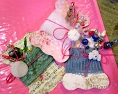 3 Super Luxe Retro Stick, Gift, Corsage, Hat, Party, Trinket Decorated Sewing PINS, BUTTON, Shabby Chic Fabric Printed TAGS/Cards - Gorgeous