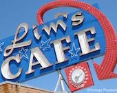Roadside Cafe - Lim's Cafe in Redding, California. Fine Art Photograph. Road Trip Vintage Neon Restaurant Decor