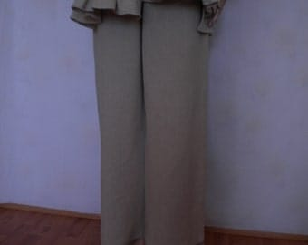 wide leg linen pant loose pant made to order