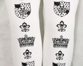 XL Tights Crown Printed Extra Large Plus Size Black on White Victorian Steampunk Medieval Fleur de Lis Shield Women