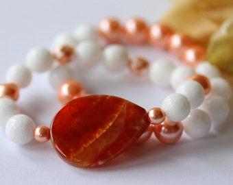 Fire Agate Bracelet Set, Beaded Bracelet, Stretch Bracelet, Beadwork Bracelet, Gemstone Bracelet, Jade, Pearls, Bridal Jewelry, Mother's Day