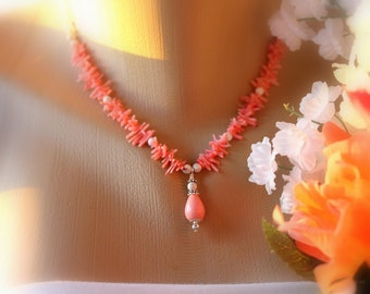 Pink Coral Necklace, Pendant Necklace, Statement Necklace, Beaded Necklace, Strand Necklace, Resort Necklace, Bridal Jewelry, Summer, Resort