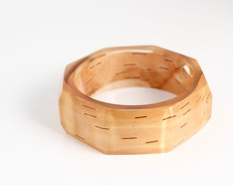 birchbark bracelet - eco resin statement bangle