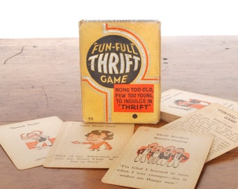 """Vintage """"Fun-Full"""" Thrift Game, Old Maid card game with 1930s art deco illustrations, banking, yellow, black, orange, Russell Manufacturing"""