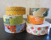 Crafty. Lot of 6 spools of vtg fabric craft ribbon, varying lengths /1970s-1980s