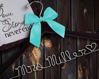 SALE Personalized Wedding Hanger/ Name Hanger Wire Hanger Brides Hanger/ Bride/ Name Hanger/ Wedding Hanger / 47 ribbon colors