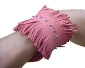BOHO FRINGE CUFF Sale Leather Fringe Cuff Beaded Bracelet Pink leather Bohemian Jewelry Boho Bracelet Tribal Jewelry Tribal Bracelet Cuff
