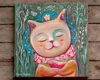 Cat art, cat painting, cat and bird painting, love painting - Acrylic on canvas 30 30 cm