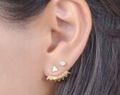 Gold Ear Jacket, Gold Plated Ear Cuff, Stud Triangle, Spiky Earjacket, Geometric Earrings, Minimalistic, Modern Jewelry, Gift, EJK001