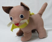 "Vtg 60's Fabric Tan Brown Gingham Cotton 10"" Standing Stuffed Kitty Cat Big Bow"