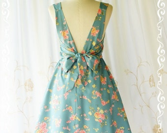 Party V Backless Dress Floral Backless Dress Dusty Blue Party Dress Floral Spring Summer Sundress Floral Wedding Bridesmaid Dresses XS-XL