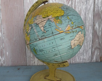 Vintage metal globe / J.  Chein Co. USSR , Jerusalem , French Equatorial Africa