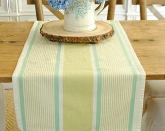 Aqua and lime farmhouse stripe table runner - small