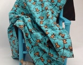Monkey Swinging in Vines Baby Blanket Teal Brown Flannel and Fleece