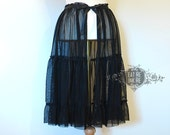 Black soft tulle OVERSKIRT three triers gothic lolita neo victorian steampunk goth aetheral skirt ruffles fantasy costume party halloween