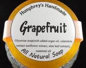 GRAPEFRUIT soap, Glycerin Citrus Soap, Grapefruit Essential Oil Soap Bar, Orange Women's Shave Soap, Round Soap Puck, Argan Oil, Aloe Leaf