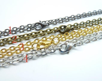 10 Pcs 3x4mm Iron Flat Oval Chain Cable Flat Oval, Cable Chain ,Necklace Finished Necklace Chain,You Choose Color
