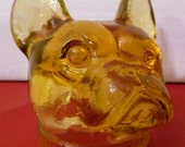 EASTER SALE       Vintage Honey Gold Vaseline Boston Terrier made by Boyd Glass Company