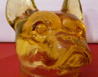 Vintage Honey Gold Vaseline Boston Terrier made by Boyd Glass Company