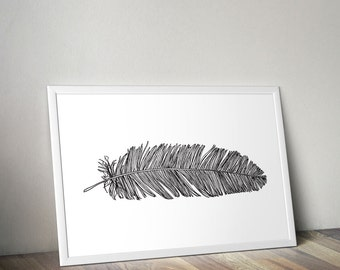 Feather Print Feather Art Black and White Art Feather Digital Download Feather Line Drawing Modern Minimalist Home Decor Graphic Poster Art