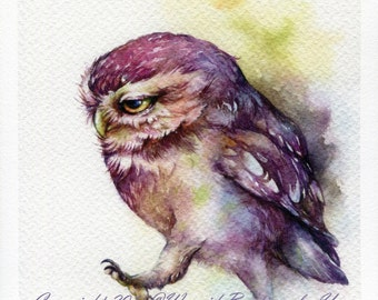 PRINT – The Owl keep walking Watercolor painting 7.5 x 11""