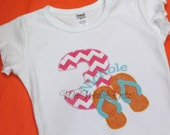 Flip Flop Birthday T Shirt Bib Girls Personalized Pink Chevron 1st 2nd 3rd ANY NUMBER or Letter Summer B-Day