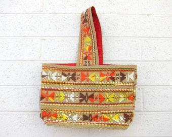 Vintage Embroidered Market Tote Bag Handbag Desert Colors Yellow Orange Brown 70s Burlap Jute