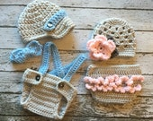 Vintage Twin Photography Prop Set in Gray, Blue and Pink Available in 4 Sizes- MADE TO ORDER