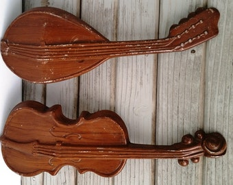 Retro Musical Instrument Wall Décor Violin Mandolin Wall Hanging Metal Painted Instruments Metal Wall Decor Music Room Decor Classics Style