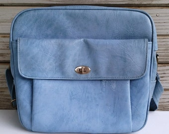 Vintage Blue Travel Overnight Bag 1960s Samsonite Carry On Luggage Flight Bag Retro Travel Plane Bag Vintage Diaper Bag Sleepover Bag