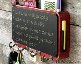Fat Boy Mail Organizer and Chalkboard with Key Rack Storage and Message Center in Barn Red